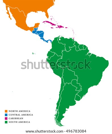 Latin america regions political map caribbean vector de latin america regions political map the caribbean in purple color north america in orange gumiabroncs Image collections