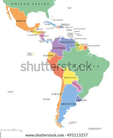 Latin America Single States Political Map Stock Vector (Royalty Free ...