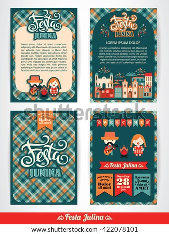 Latin American holiday, the June party of Brazil. Set of vector templates with symbolism of the holiday - stock vector