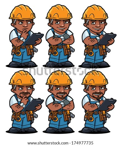 latin american worker set - stock vector