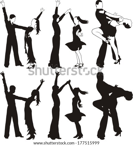 latin dance - silhouettes of ballroom dancing - stock vector