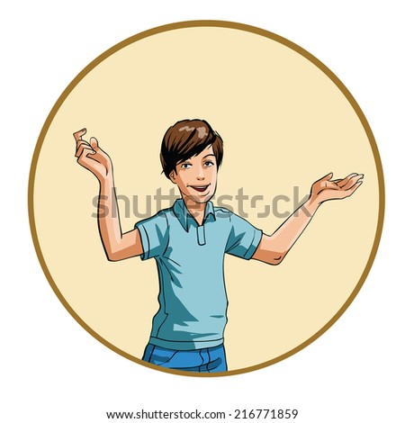 Latin man with open arms - stock vector