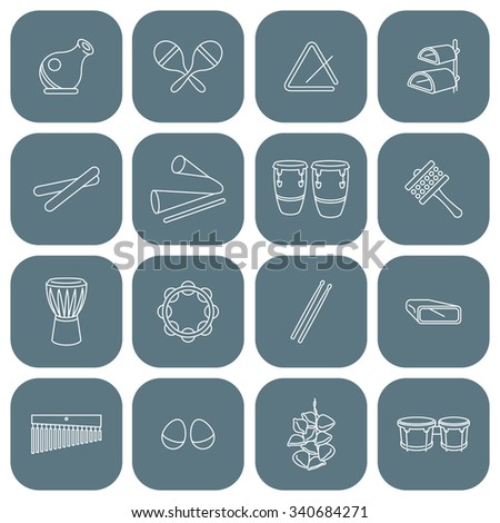 Latin Percussion Instruments Icon Set. Vector Drawing, Global Colors,neat work, easily editable. - stock vector