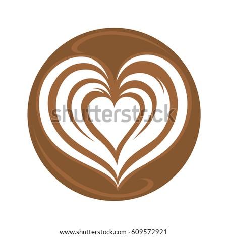 tulip heart rosetta latte art hot stock vector 429071452