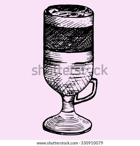 latte macchiato in glass cup , doodle style, sketch illustration - stock vector