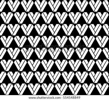 Lattice hearts seamless pattern in monochrome. Geometric shapes background. Vector illustration, easy to recolor