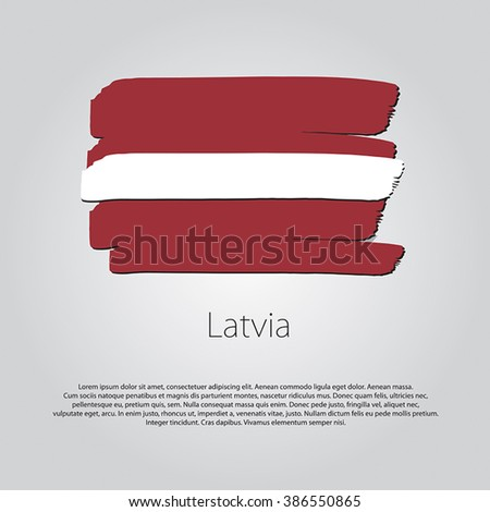 Latvia Flag with colored hand drawn lines in Vector Format - stock vector