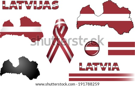 Latvia Icons. Set of vector graphic icons and symbols representing Latvia. The text says 'Latvia' in Latvian.  - stock vector