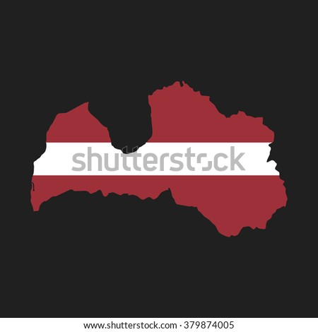 Latvia - map and flag - stock vector