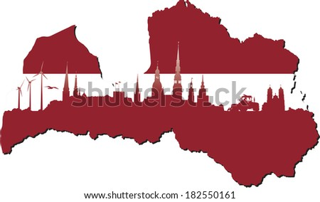 Latvia map in flag colors and symbols of business and history of state - stock vector