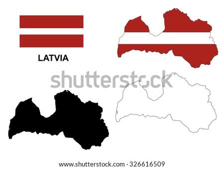 Latvia map vector, Latvia flag vector, isolated Latvia - stock vector