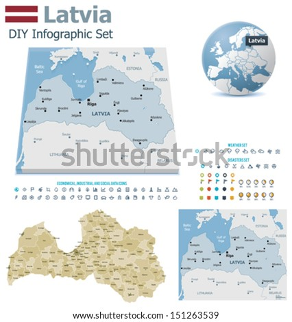 Latvia maps with markers - stock vector