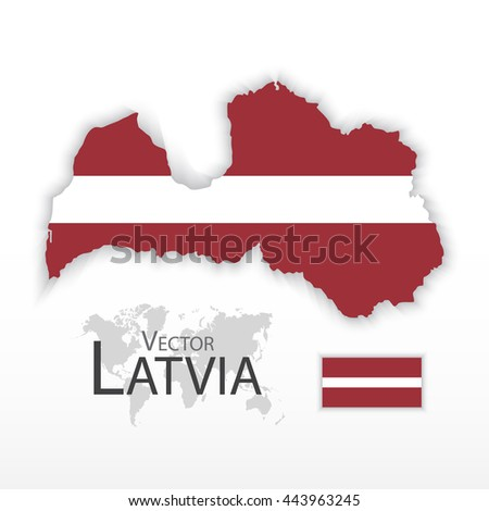 Latvia ( Republic of Latvia ) ( flag and map ) ( transportation and tourism concept ) - stock vector