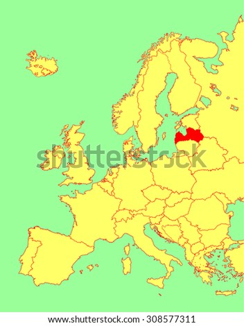 Latvia vector map, Europe, vector map silhouette illustration isolated on Europe map. Editable blank vector map of Europe.  - stock vector