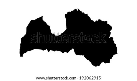 Latvia vector map isolated on white background. High detailed silhouette illustration. - stock vector