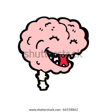 laughing brain cartoon - stock vector