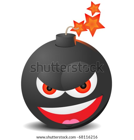 laughing evil bomb about to explode isolated on white background - stock vector