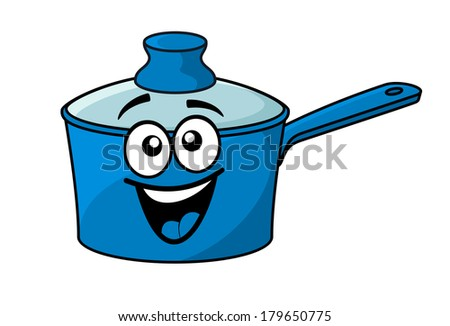 Laughing happy blue cartoon cooking saucepan with a big smile and lid isolated on white - stock vector