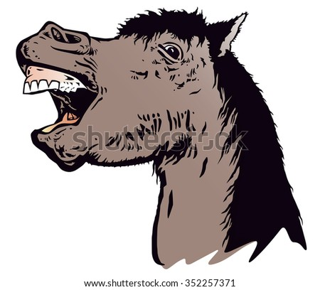 Laughing horse vector from photo. - stock vector