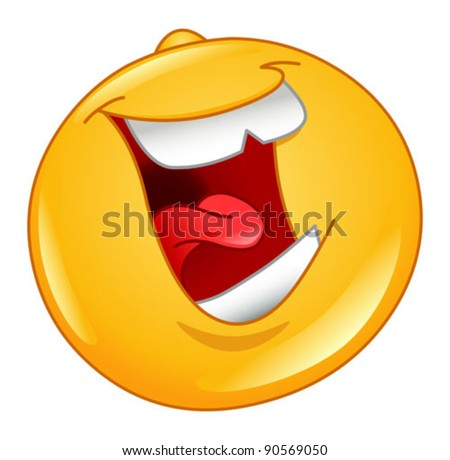 Laughing out loud emoticon - stock vector