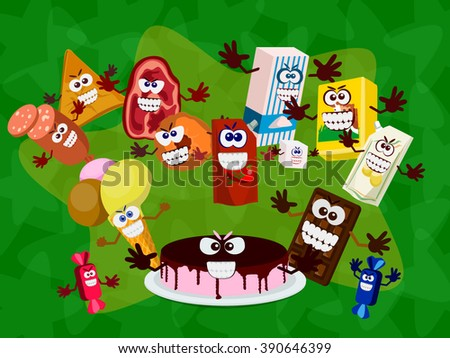 Laughing unhealthy meals. - stock vector