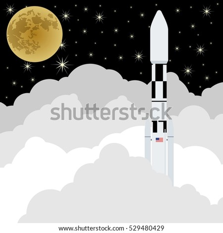 Launch space rocket into space. The launch into space on a background of the sky and Moon.