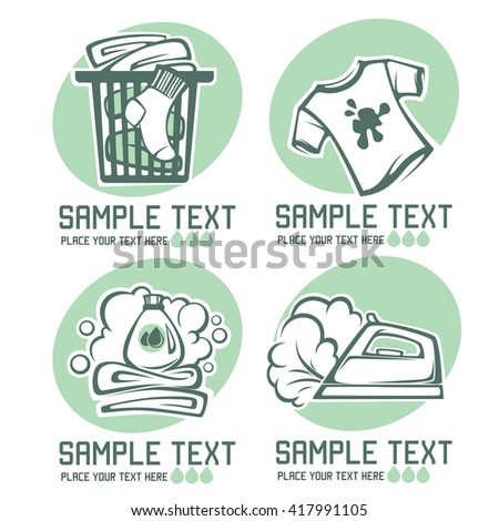 laundry and cloth washing emblems for your logo design - stock vector