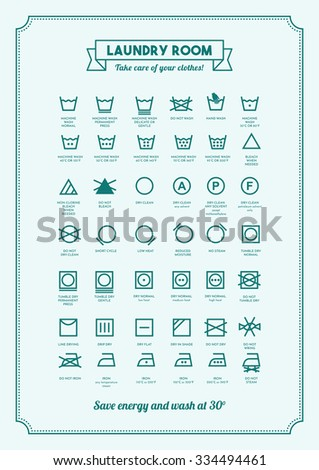 Laundry and washing clothes symbols with texts poster - stock vector