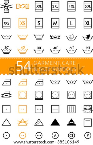Laundry care symbols. Set of textile care icons. Wash and care signs of textile garment. Sizes - size L, size M, size S, size XS, size XL - stock vector
