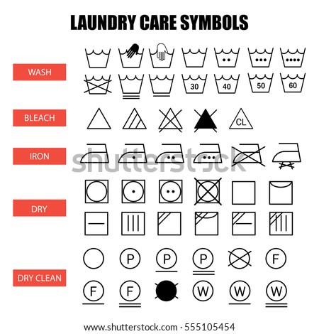 Laundry Care Symbols Set Wash Bleach Stock Vector Hd Royalty Free