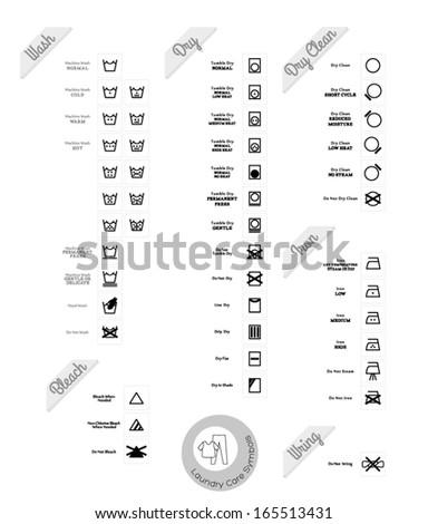 Laundry care symbols. Vector set. Black style. - stock vector