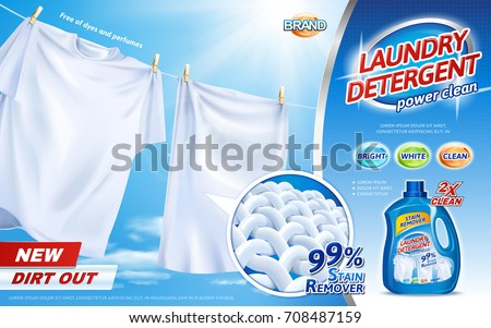 Laundry detergent ads, bright white clothes hanging out to dry with product package design in 3d illustration, closeup look at fiber structure