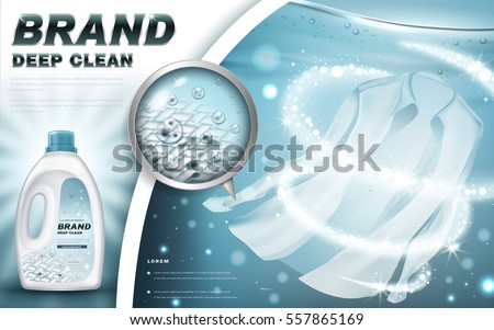 laundry detergent with close up that cleans dirt in clothing, light blue background