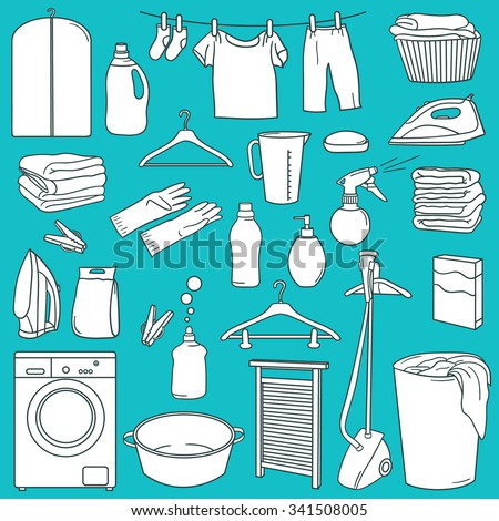 Laundry icon set hand drawn. Sketch objects vector. Doodle illustration background. Set of laundry symbols - stock vector
