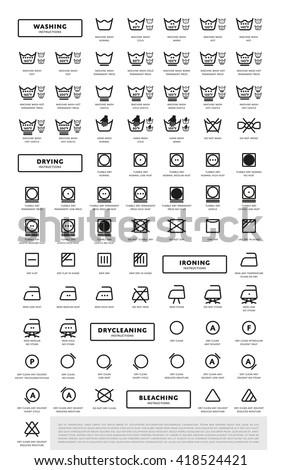 Laundry icon. Washing icon. Laundry symbols. Laundry icon vector isolated. Big set of laundry icons all type. Tumble dry icon. Laundry icon with description. Washing sign. Laundry sign. Iron heat icon - stock vector