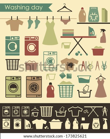 laundry icons - stock vector