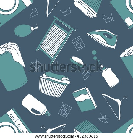 Laundry room hand drawn seamless pattern. Sketch objects vector. Doodle illustration background. Set of laundry symbols