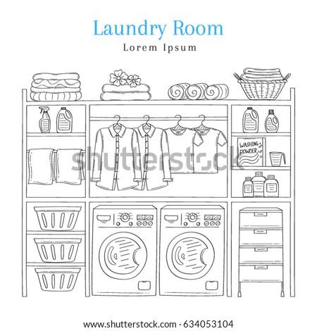 laundry room interior washing machine detergent stock vector 634053104 shutterstock. Black Bedroom Furniture Sets. Home Design Ideas