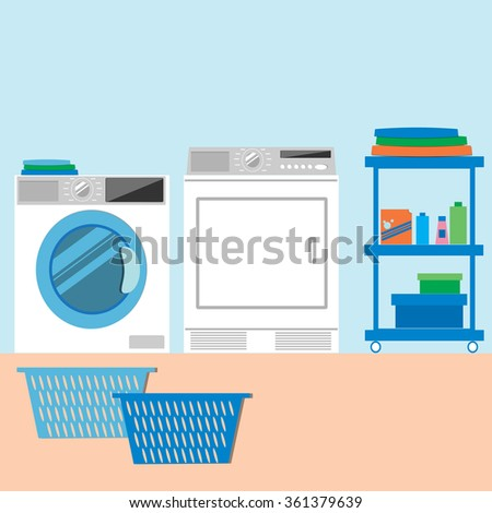 Laundry Room with Washing Machine and Dryer. Flat style Vector illustration. - stock vector