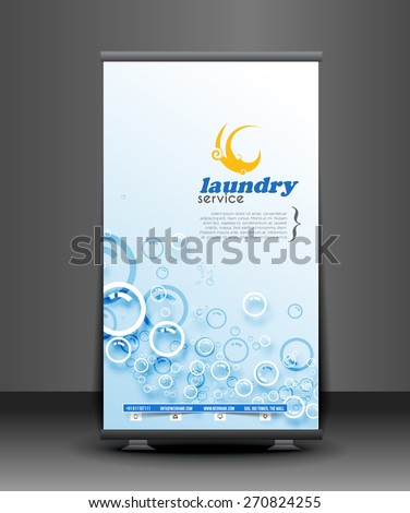 Laundry Service Business Roll Up Banner Design - stock vector