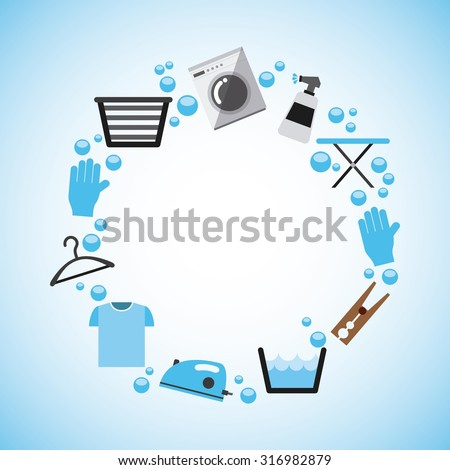 laundry service design, vector illustration eps10 graphic  - stock vector