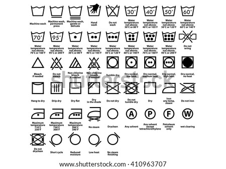 Laundry Symbol Care Symbols Vector Stock 410963707