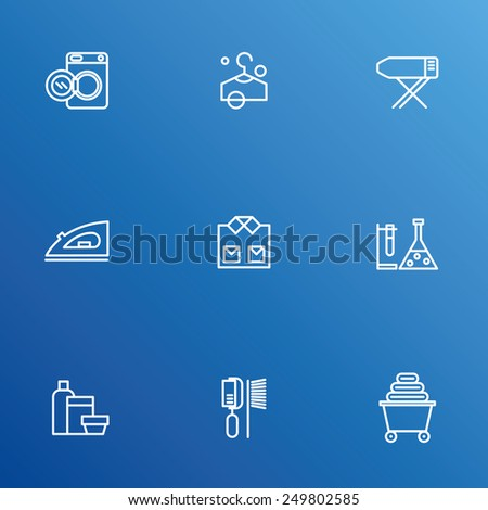 Laundry vector icons, dry-cleaning objects  - stock vector