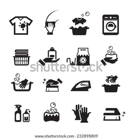 Laundry washing icons set - stock vector