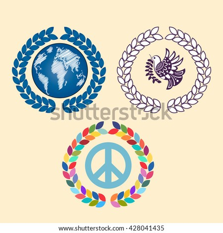Laural leaves with globe peace sign and peace bird - stock vector