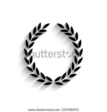 Laurel Wreath - black vector icon with shadow - stock vector