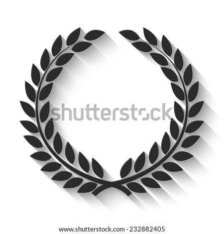 laurel wreath icon - gray vector illustration with shadow - stock vector