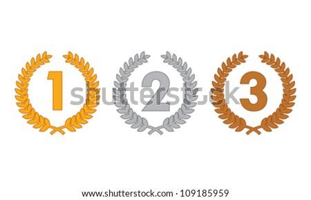 laurel wreath medals - stock vector