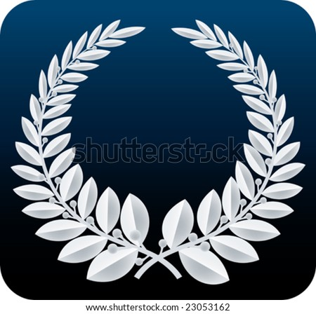 Laurel wreath silver. Only global colors. CMYK. Easy color change.