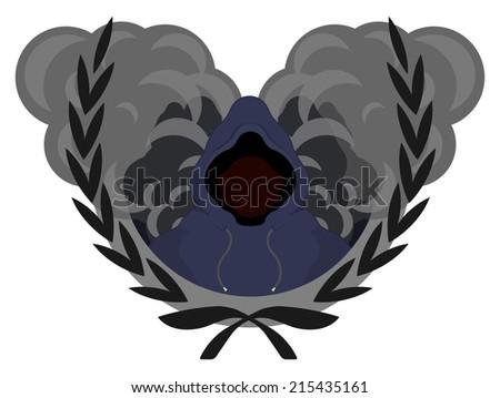 Laurel wreath, street gang logo. Danger men in hoodie standing in front of smoke clouds - stock vector